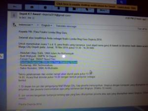 """""""Email dari panitia Depicta 2014"""""""
