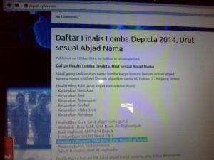 Pengumuman para Finalis Lomba Blog Guru Depicta 2014 di website resmi panitia Depicta